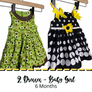2 Vintage Style Baby Girl Dresses 6 Months